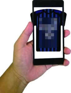 オリジナルユニフォーム型モバイルバッテリーにスマホをかざすとサプライズ!